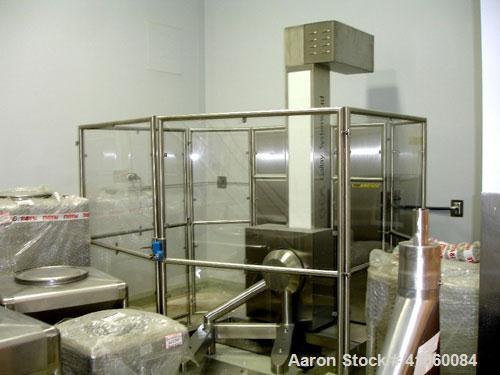 Used-GEA Gallay Systems IBC Post Hoist Blender System, stainless steel construction with multiple bins on stand, PLC contro...
