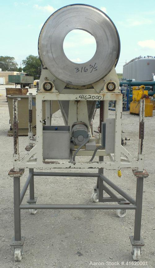 "Used- Horizontal Drum Tumbler, 316 Stainless Steel. Approximate 24"" diameter x 48"" long drum, intenal lifters, 17"" long scre..."
