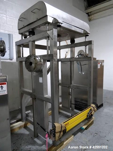 Used-Tote Systems tote blender, 304 stainless steel construction, 79 cu ft(2500 liter) capacity, on stainless steel stands w...