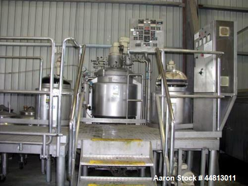 Used- Cream Mixing Emulsifying Plant. Capacity 300 liters. Includes: Vmp main mixing and homogenising vessel 300Kg batch siz...