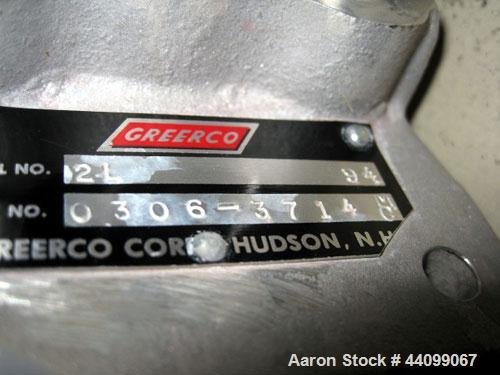 Used- Greeco Homogenizer, Model 2L. Stainless steel construction, rotor stator head, serial# 0306-3714.