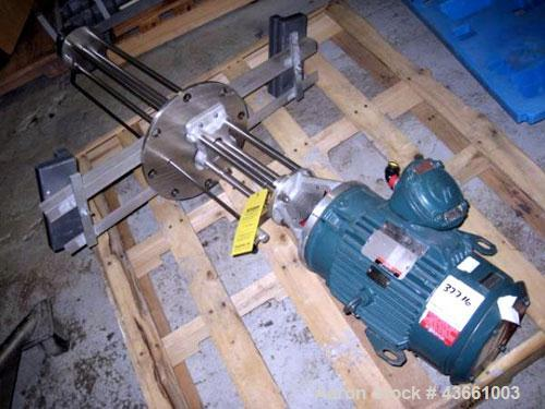 "Used- Greerco Homogenizer. Approximately 44"" long shaft with 3.5"" diameter rotor stator, driven by a 3hp, 3/60/230/460 volt,..."