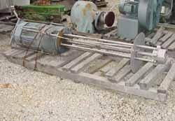 "USED: Hill Mixer Inc homo mixer. Stainless steel stator and turbine. 6"" dia, 54"" long shaft. 30 hp 460v/3600 rpm. Baffle pla..."