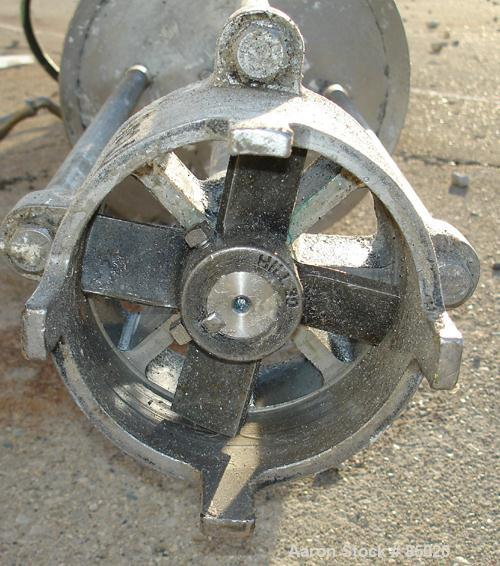"USED: Hill Homomixer, 316 stainless steel. approximately 4-7/8"" diameter, 4 blade rotor, 100 gallon batch size. 1-1/4"" diame..."