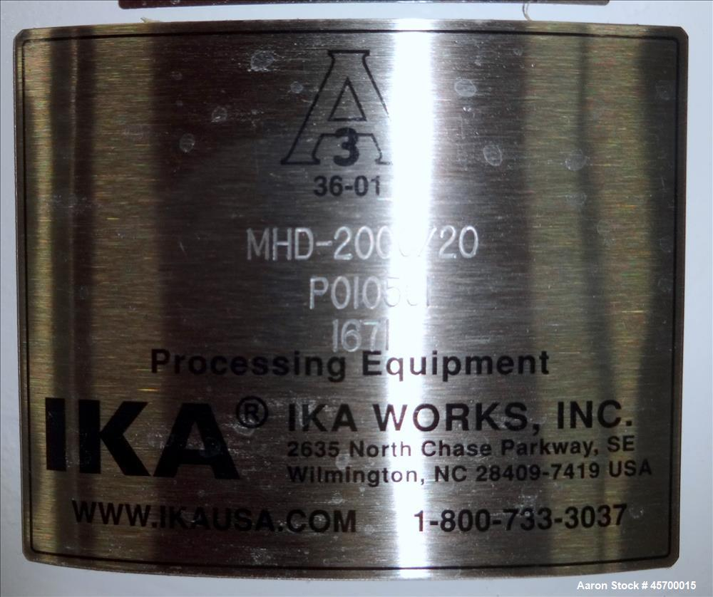 Used-IKA Works Inc Stainless Steel Solid-Liquid Mixer, Homogenizer and Disperser, Model MHD-2000/20, S/N: P010551-1671. Has ...