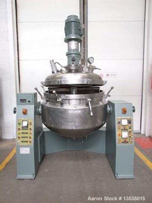 Used-Pressindustria TE 3 250 VR Vacuum Homogenizer. Stainless steel, double jacketed, total capacity 130 gallons (495 liters...