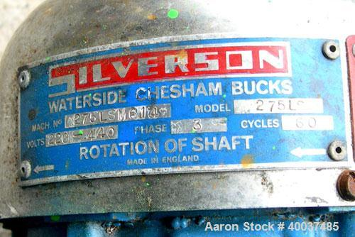 Used- Silverson mixer, model 275LS, stainless steel. Driven by a 2hp,3/60/220/440 volt, 3445 rpm motor.