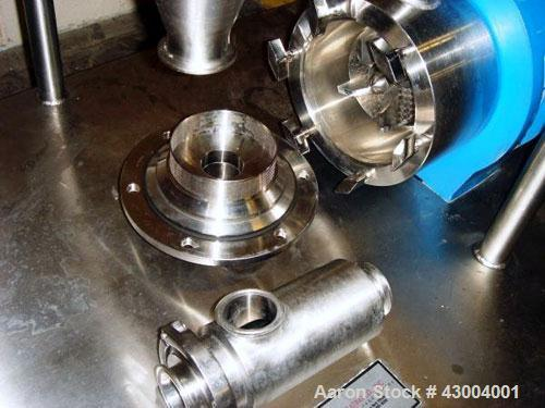 """Used- Silverson High Shear In-Line Mixer, Model 450 LS, 316 Stainless Steel. Approximate 4-1/2"""" diameter Emulsor screen work..."""