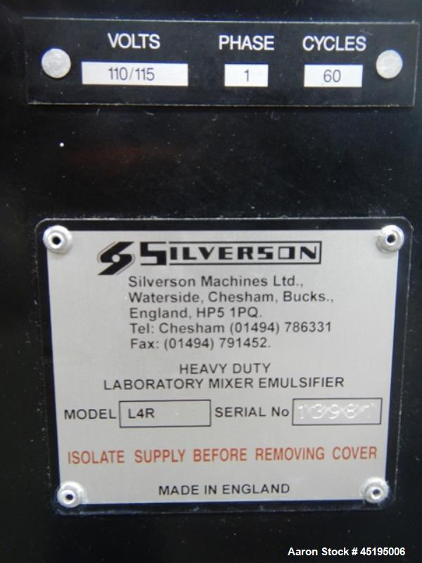 Used- Silverson Bench Top Homogenizer, Model L4R.  Stainless steel shaft and blade, with controls, 115 volt, serial #1398.