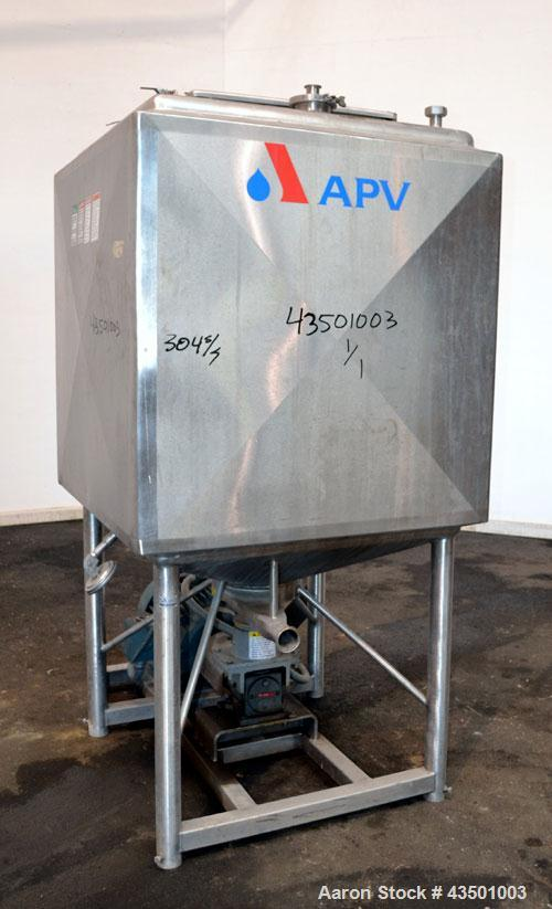 "Used- APV Crepaco Flex-Mix Liquiverter, 300 Gallon, 304 Stainless Steel. Jacketed tank 40"" wide x 40"" long x approximately 4..."