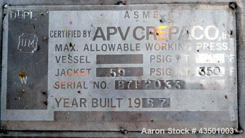 """Used- APV Crepaco Flex-Mix Liquiverter, 300 Gallon, 304 Stainless Steel. Jacketed tank 40"""" wide x 40"""" long x approximately 4..."""
