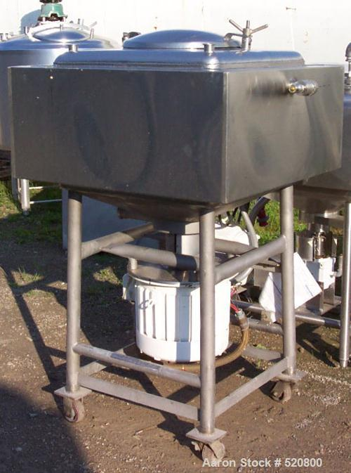 USED: Breddo 75 gallon Likwifier, square stainless steel sanitary construction. Dome top manway, direct drive 15 hp agitator...
