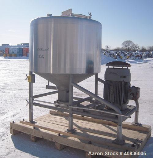 "Used-  Breddo Likwifier, 300 Gallon, Model LOR, 304 Stainless Steel.  Non-jacketed tank 54"" diameter x 30"" straight side x c..."