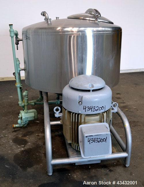 """Used- Breddo Likwifier, 200 Gallon, Model LORWW, 316 Stainless Steel. Dimple jacketed chamber 50"""" diameter x 23"""" straight si..."""