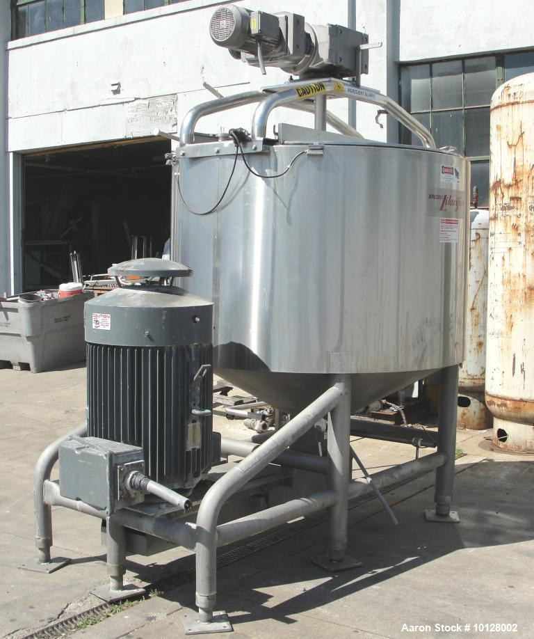 Used-Breddo Likwifier 600 Gallon, 316 Stainless Steel, Jacketed Scrape Surface Contical Bottom Blender, Model LORWWSS.  Inte...
