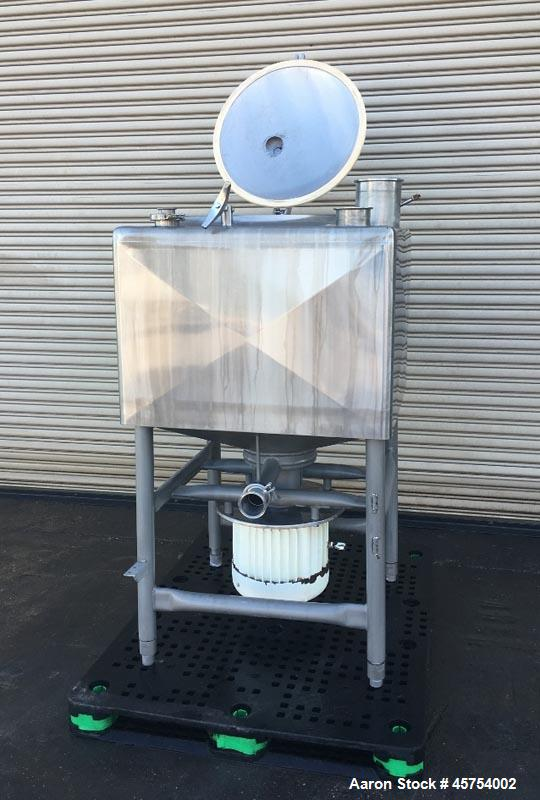 "Used- Breddo 100 Gallon Stainless Steel Likwifier, Model LDT. Dimensions - 34"" wide x 34"" long x 25"" deep and  8"" cone botto..."
