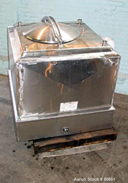 """USED: Breddo Likwifier, stainless steel. 150 gallon capacity, jacketed and skirt mounted. 37"""" wide x 37"""" long x 27"""" deep.Ope..."""