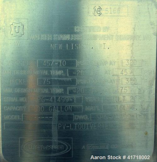 Used- Walker Stainless Liquifier, 500 Gallon, model PV-Liquiverter, 316L stainless steel, vertical. Jacketed tank 52'' diame...