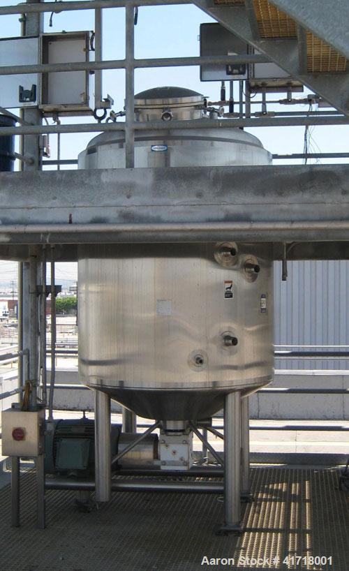 """Used Walker 500 Gallon, 316L stainless steel jacketed liquifier tank, model PV Liquiverter. 58"""" X 62"""", 36"""" legs, 75 psi, 40 ..."""