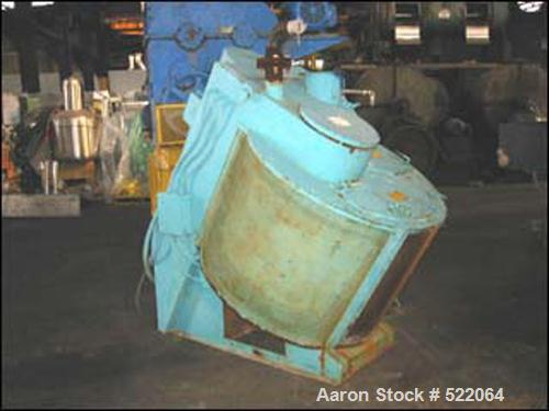 "USED: Eirich model R11 mixer, angle design, floor mounted base, carbon steel construction. 42"" diameter bowl, 20/30 hp high ..."