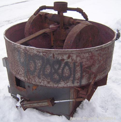 "Used- National Engineering Simpson Mix-Muller. 36"" diameter 304 stainless steel pan.(2) 16'' diameter x 3'' wide carbon stee..."