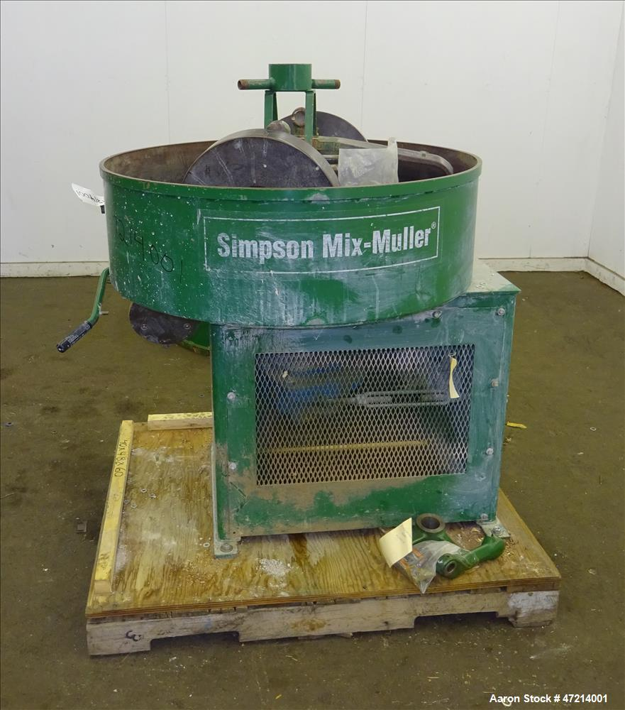 Used- Simpson Mix-Muller Batch Mixer, Model 05, Carbon steel. Capable of mixing batch sizes up to 3 cubic feet. Approximate ...