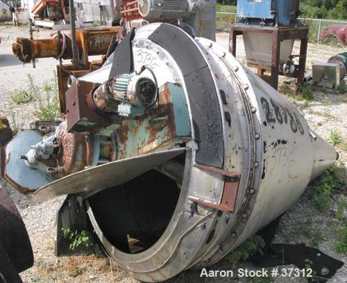 "Used- Nauta Mixer, ModelMBX 350, 304 Stainless Steel. 35 Cubic feet, 55"" diameter x 84"" straight side. Jacket top portion (w..."