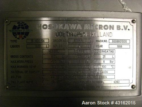 Used- Hosokawa Model 15-HDC-54 316L stainless steel conical vacuum mixer dryer. Internal total capacity approximately 4,600 ...