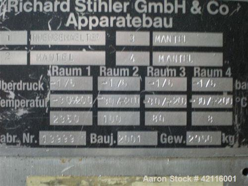 Used-Richard Stihler GmbH & Co Apparatebau Vacuum Dryer, approximate 83 cubic foot/2550 liter working capacity. Material of ...