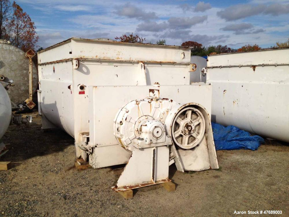 Used- Twin Shaft Paddle Mixer, approximately 240 cubic foot working capacity.  Previously used in a chocolate plant.  Carbon...