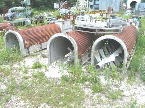 "USED: 24"" x 30"" long stainless steel paddle mixer, 30' long with (3)10' sections, 3.5"" diameter coupling, 25"" square flanged..."