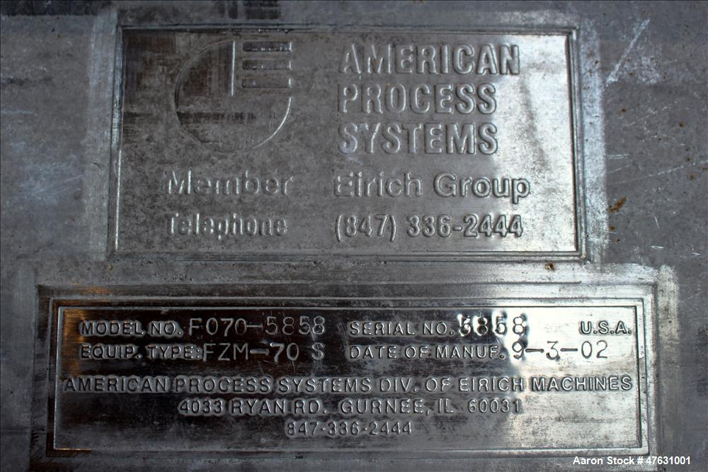Used- American Process Systems Twin Shaft Fluidizing Paddle Blender/Mixer