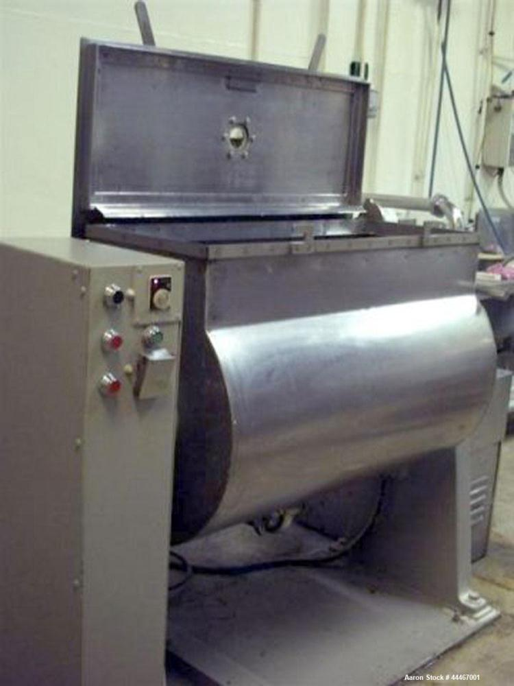 Used-Baker Perkins Stainless Steel Paddle Mixer.  Maximum capacity 7 cubic feet (200 liters).  50 Hz.