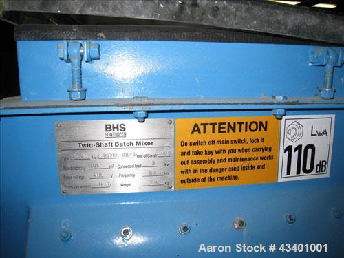 Used-BHS Twin Shaft Batch Mixer.  It has a 60 liter capacity in the hopper and is stainless steel.  Footprint is 3' x 3' and...