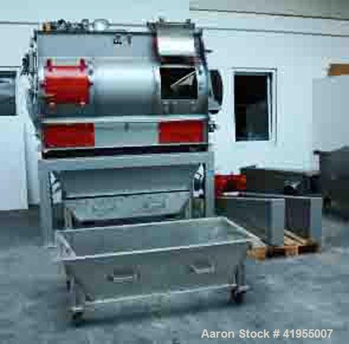 Used-Buhler DFMF 1000 Paddle Mixer, stainless steel. Capacity 53 cubic feet (1500 liters), 10 hp/7.5 kW geared motor with ch...