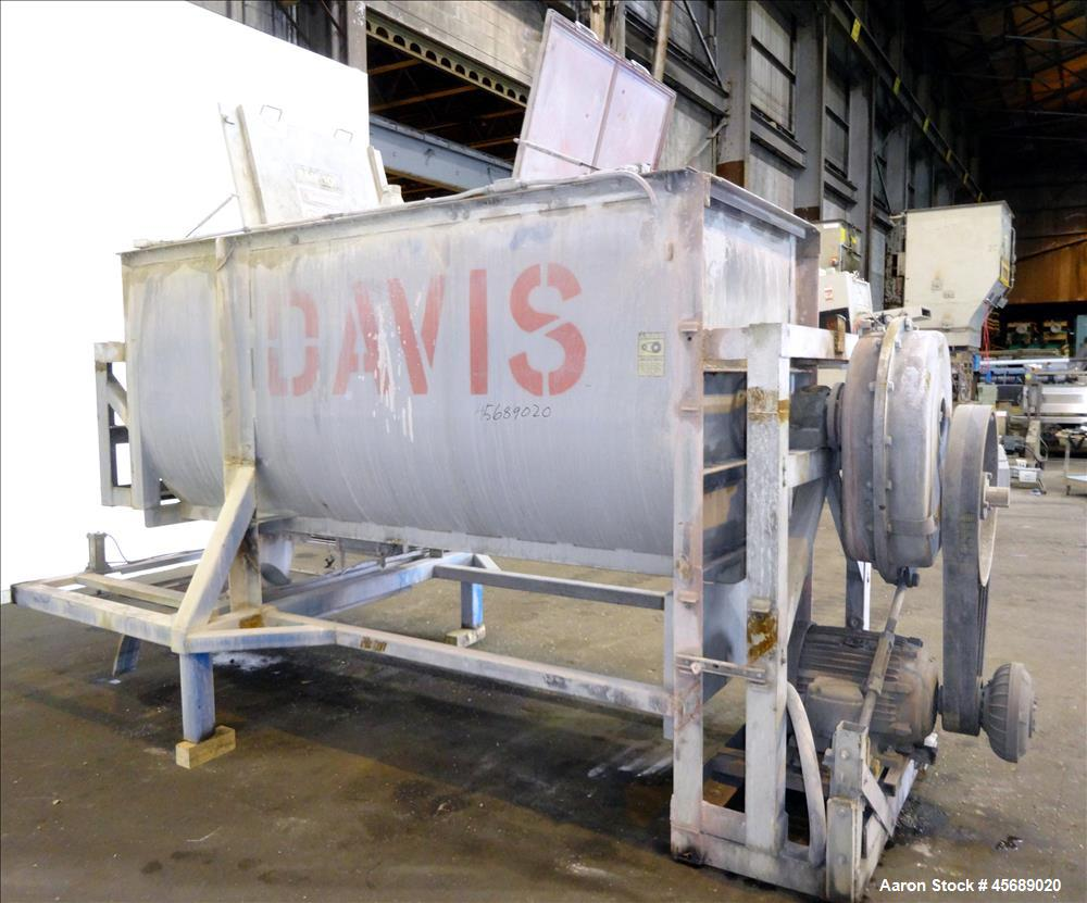 Used- Davis Paddle Mixer, Approximate 220 Cubic Feet/ 600 Pounds Working Capacit