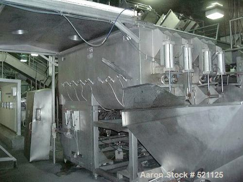 USED: FPEC paddle mixer, stainless steel construction, 10,000 lbcapacity/200 cu ft. Equipped with (2) 50 hp drive motors, CO...
