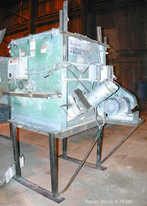 USED: Kelly Duplex model 3604HM single shaft horizontal paddle mixer. 36 cubic foot working capacity, carbon steel. Non-jack...