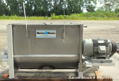 "Used- Marion Paddle Mixer, 15 Cubic Feet,  304 Stainless Steel. Non-jacketed trough 27-1/2"" wide x 48"" long x 35"" deep. 3"" d..."