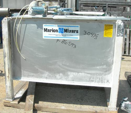 USED- Marion Paddle Mixer, Model SPS-2466, Approximately 19.5 Cubic Feet Working Capacity, 304 Stainless Steel. Non-jacketed...