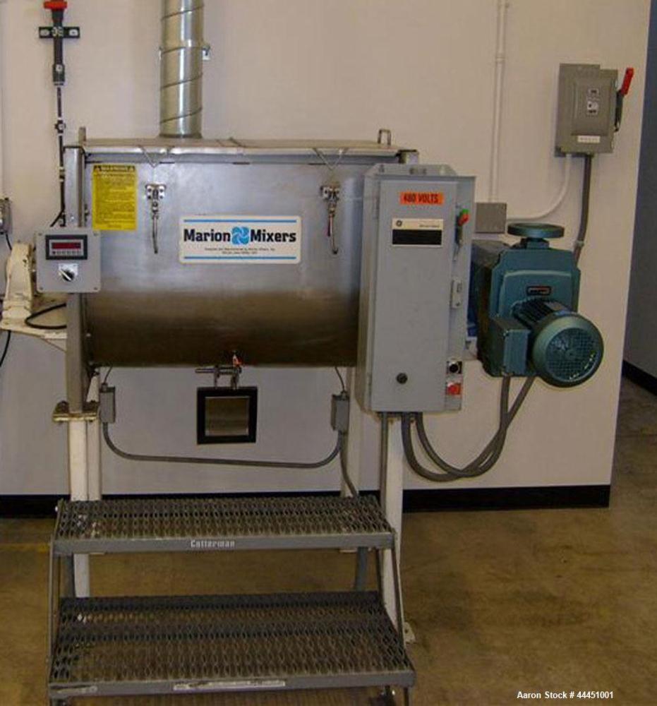 Used- Stainless Steel Marion Paddle Mixer, 10 cubic feet