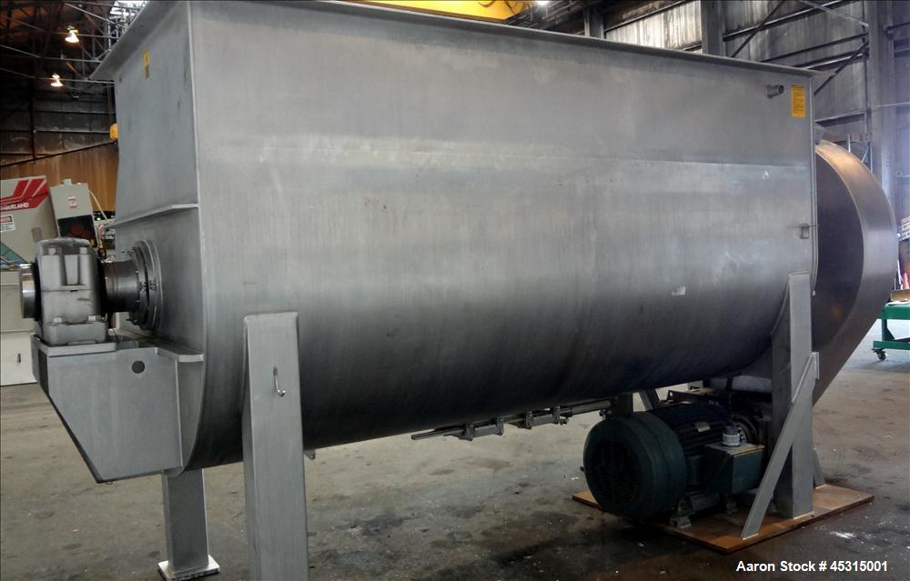 Used- Marion Semi-Cylindrical Paddle Mixer, approximately 300 cubic feet working capacity, 304 stainless steel. Non-jacketed...