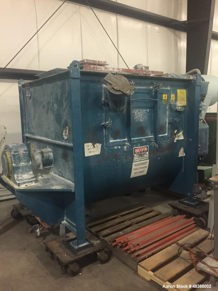 """Used- Marion Paddle Mixer, Model # HPC5474. Carbon Steel. Approximately 100 cubic feet. 54"""" wide x 74"""" long x 64 1/2"""" deep, ..."""