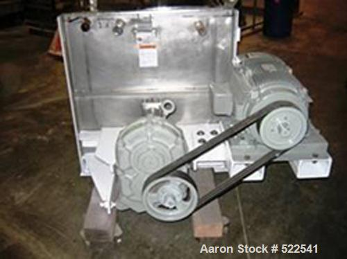 USED: 15 cu ft Marion stainless steel paddle mixer. Non-jacketed trough, 2 speed motor 5/10 hp, 3/60/460 volt, final rpm 27/...