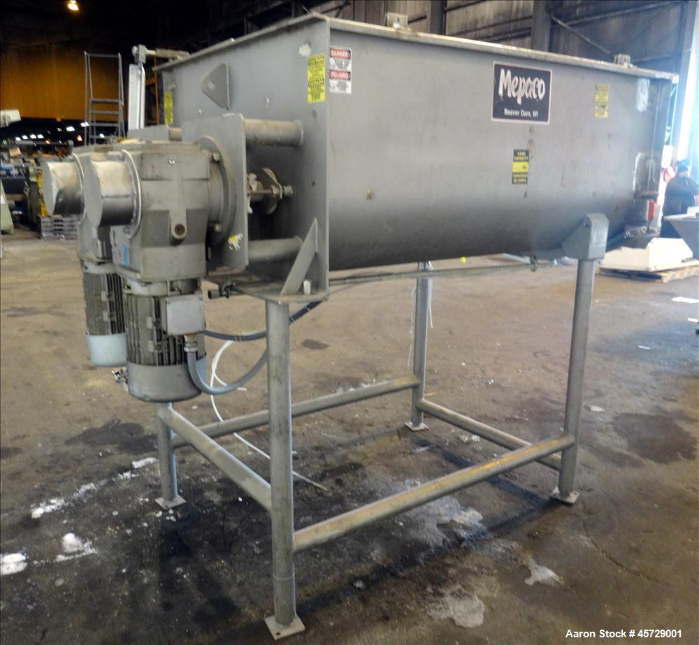 Used- Mepaco Twin Shaft Paddle Mixer, Model 170, 2000 Pound Working Capacity (40 Cubic Feet), 304 Stainless Steel. Non-jacke...