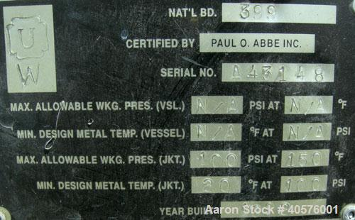 Used- Stainless Steel Paul O Abbe Twin Shaft Fluidizer, model AF500