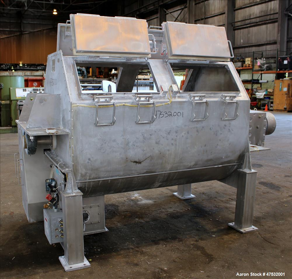 Used- Phlauer Paddle Mixer, Model AJSP 486-6 SPSS, 304 Stainless Steel, Approxim
