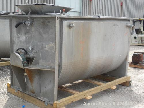 "Used- Scott Equipment Paddle Mixer, 100 Cubic Feet Capacity, 304 Stainless Steel. Stainless steel jacketed trough 96"" long x..."