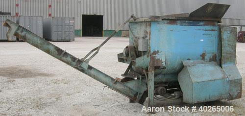 """Used- Weiler Paddle Mixer, Approximately 40 Cubic Feet Capacity, Carbon Steel. Non-jacketed trough 36"""" wide x 60"""" long x 41""""..."""