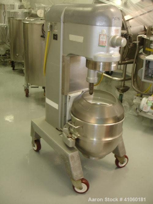 Used- Hobart Mixer, 60 Quart, Model H600T. Stainless steel bowl and beater, 1.5 hp 460 volt, serial #11-330-752.